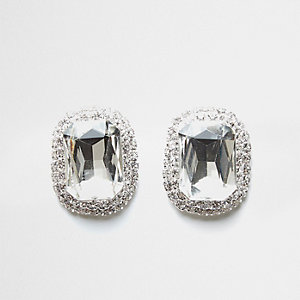 Silver tone jewel stud earrings
