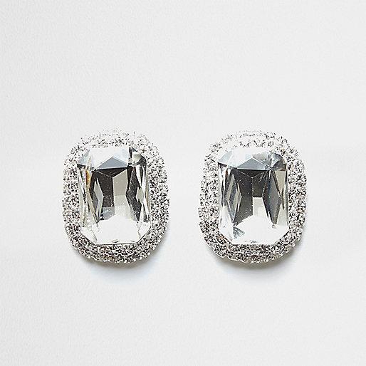 Silver tone jewel stud earrings