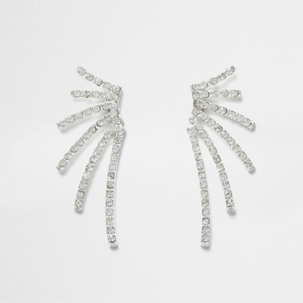 Silver tone rhinestone cascade stud earrings