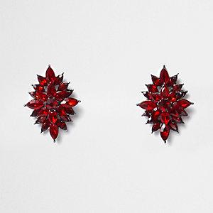Clous d'oreilles feuilles à pierres rouges