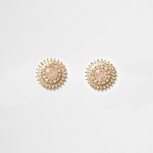 Gold tone diamante sunray stud earrings