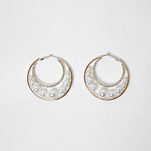 Gold tone faux pearl insert hoop earrings