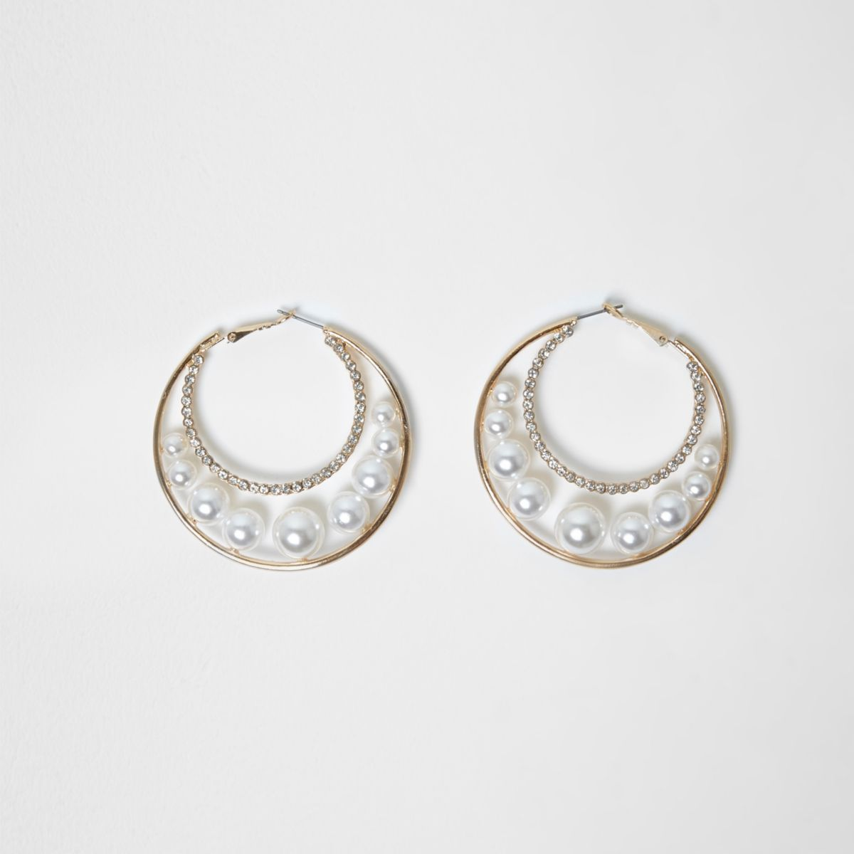 Gold tone faux pearl insert hoop earrings