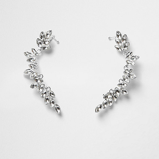 Silver tone leaf jewel embellished ear cuffs