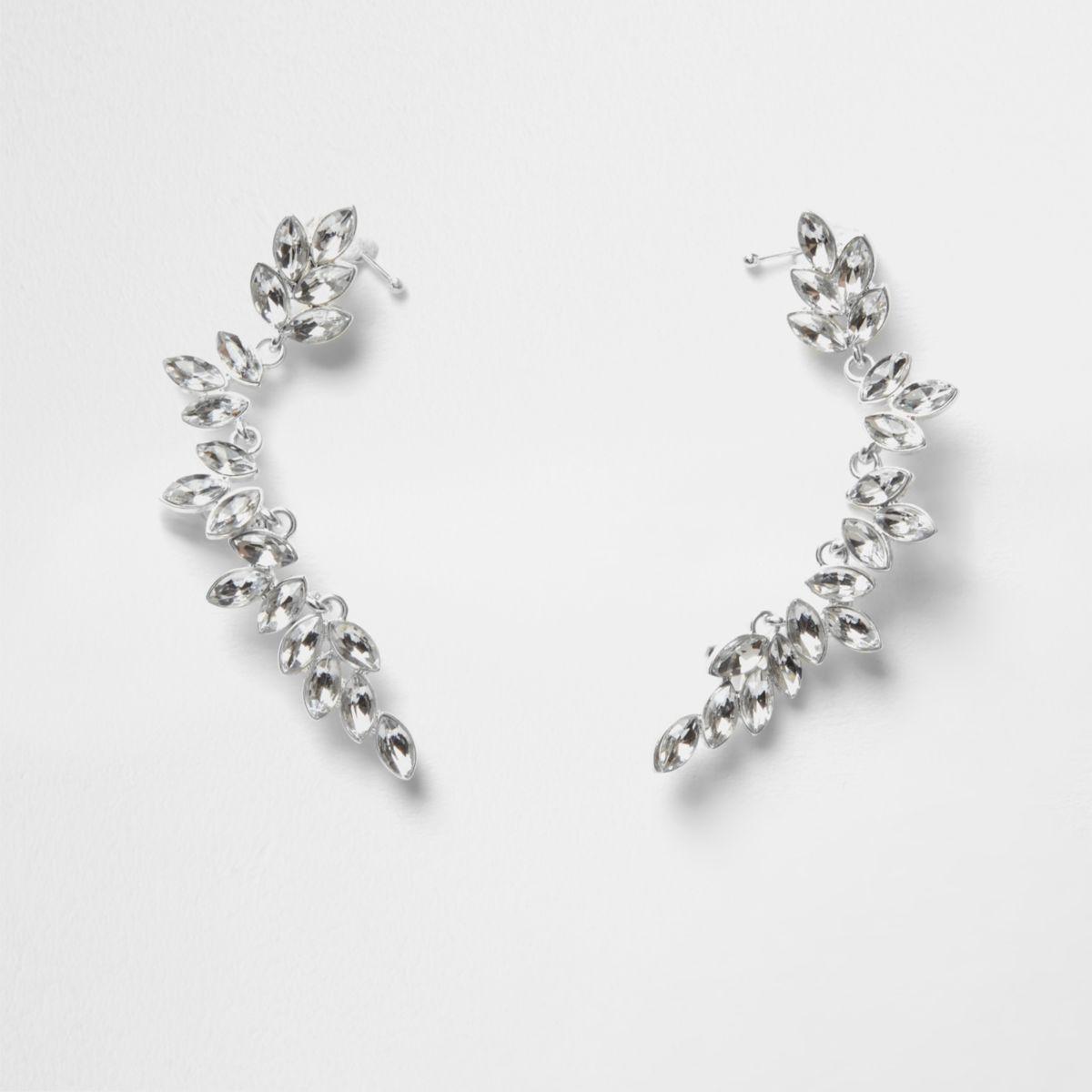 Silver tone leaf jewel embellished ear cuffs