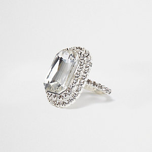 Silver tone jewel rectangle ring