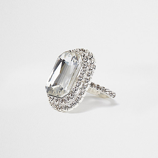 Silver tone jewel rectangle ring