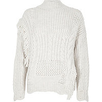 Cream mixed stitch fringe cable knit jumper
