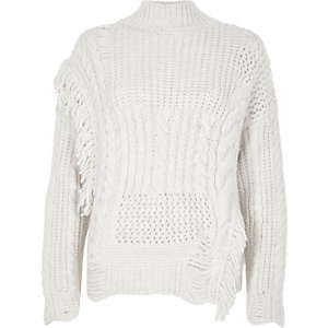 Cream mixed stitch fringe cable knit sweater