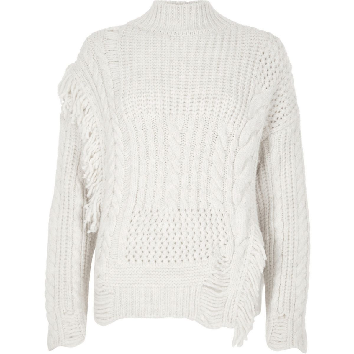 Cream mixed stitch fringe cable knit sweater - Sweaters - Knitwear ...