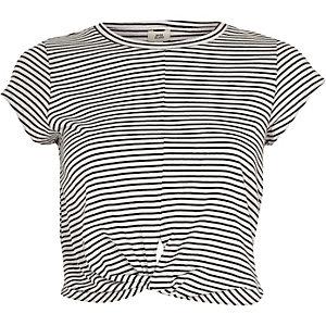 Black stripe twist front cropped top