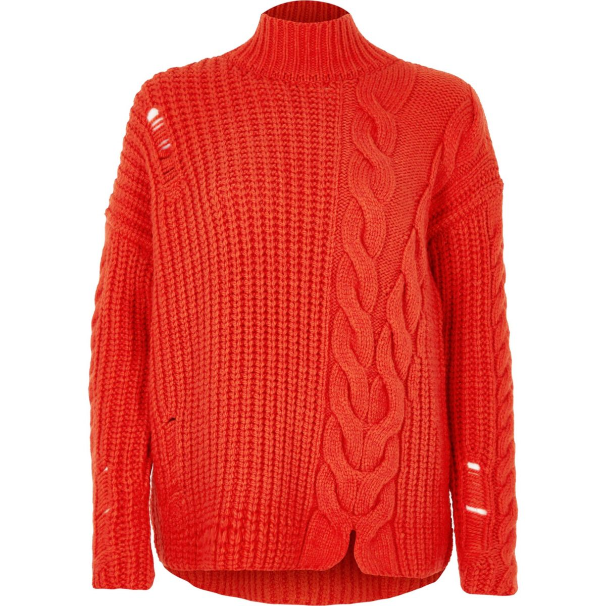 Bright red cable knit high neck sweater - Sweaters - Knitwear - women