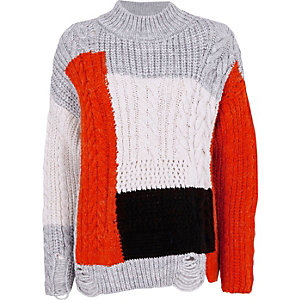 Grey color block cable knit sweater