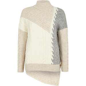 Cream blocked cable knit high neck jumper