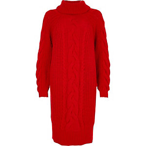 Red cable knit roll neck sweater midi dress