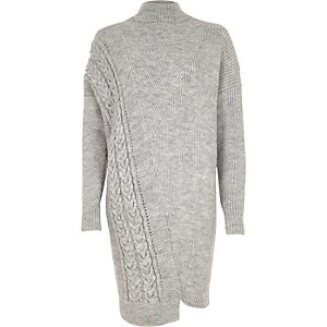 Grey cable knit detail high neck jumper dress