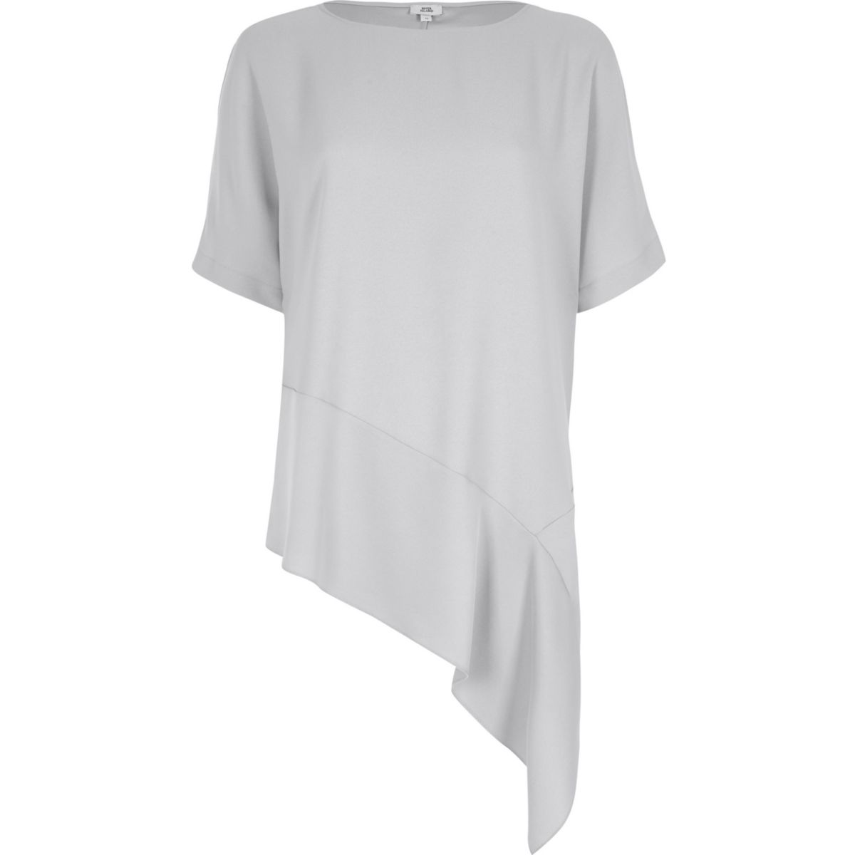 Light grey asymmetric hem T-shirt