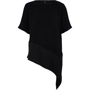 Black asymmetric hem T-shirt