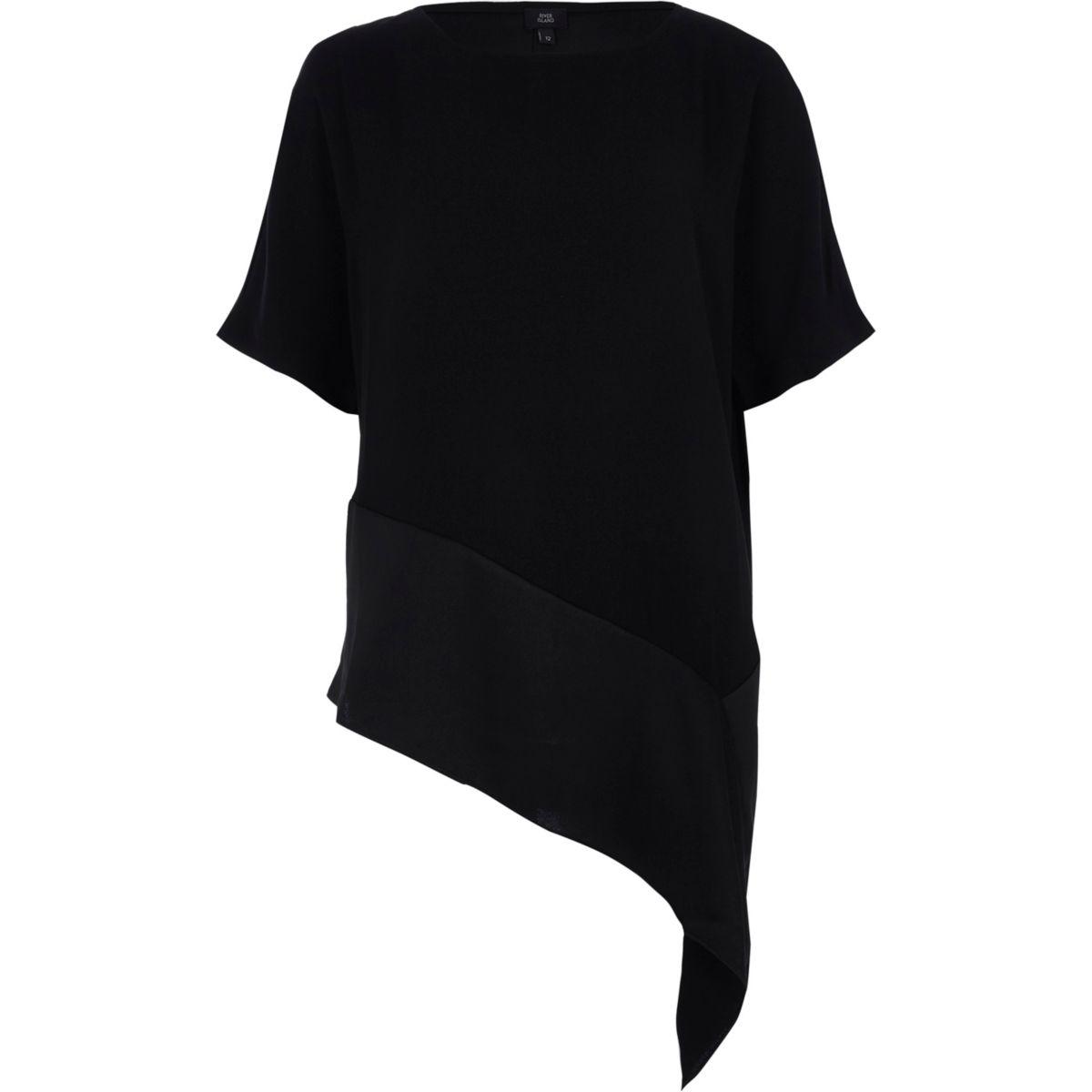 Zwart T-shirt met asymmetrische zoom
