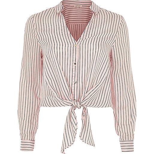 Pink stripe tie front shirt