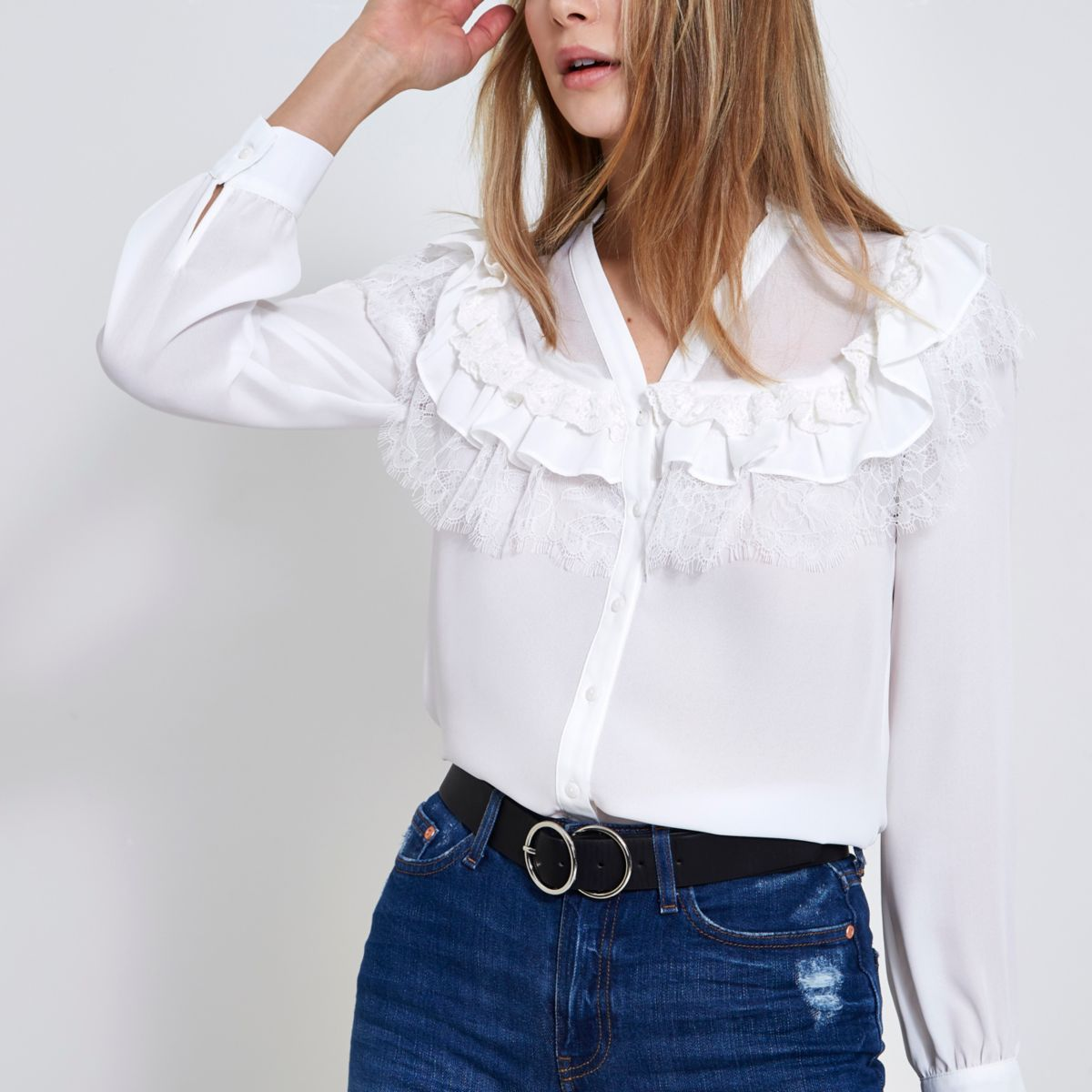 White frill lace blouse