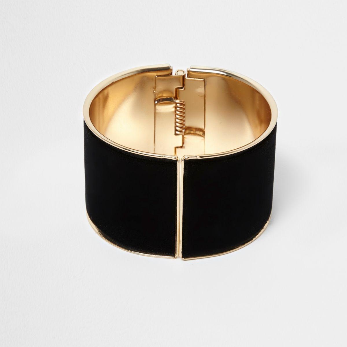Black velvet cuff bracelet