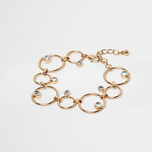 Gold tone circle link diamante jewel bracelet
