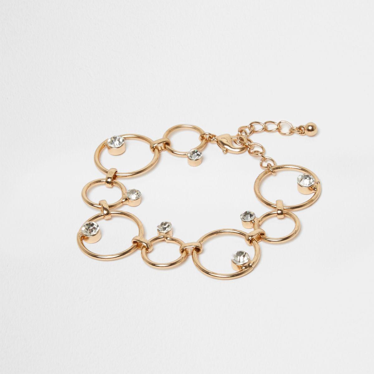 Gold tone circle link rhinestone jewel bracelet