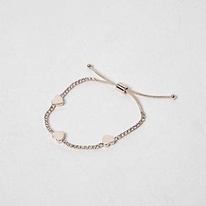 Rose gold tone heart lariat bracelet