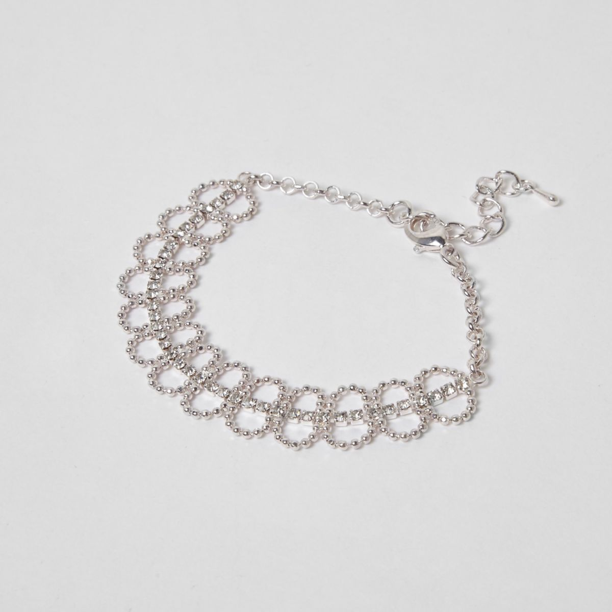 Silver tone pave ball bracelet