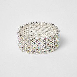 Bracelet argenté à strass blancs