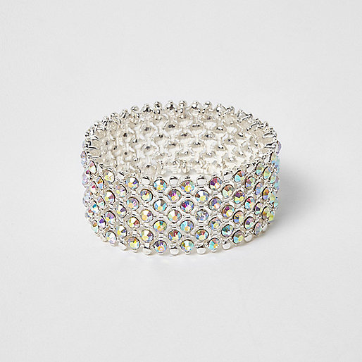 Silver tone white rhinestone bracelet