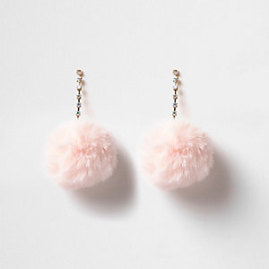 Light pink pom pom drop earrings