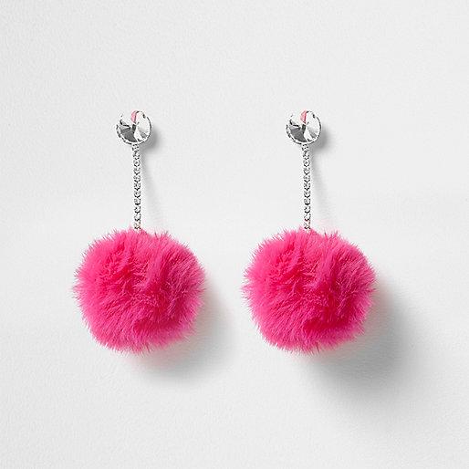 Bright pink pom pom drop earrings