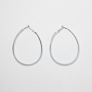 Silver tone flat bottom oval hoop earrings