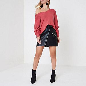 Petite black faux leather ring zip mini skirt