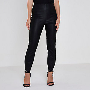 Petite black faux leather high rise trousers