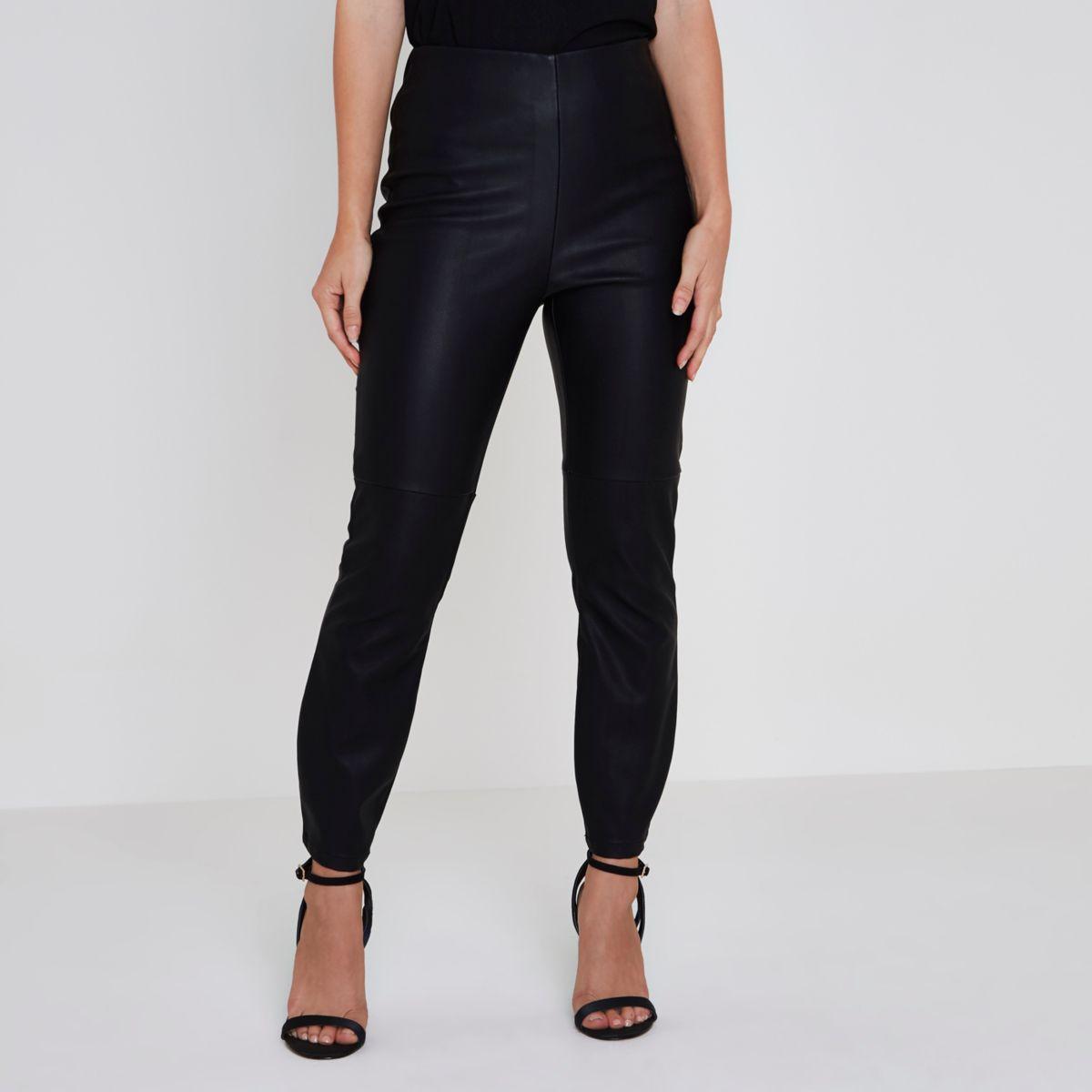 Petite black faux leather high rise pants