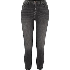 Petite – Amelie – Graue Skinny Jeans im Used-Look