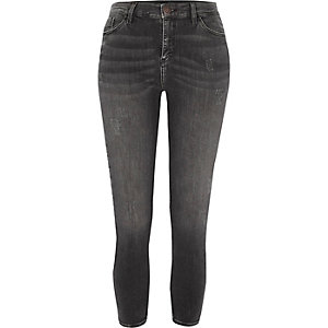 Petite grey Amelie distressed skinny jeans