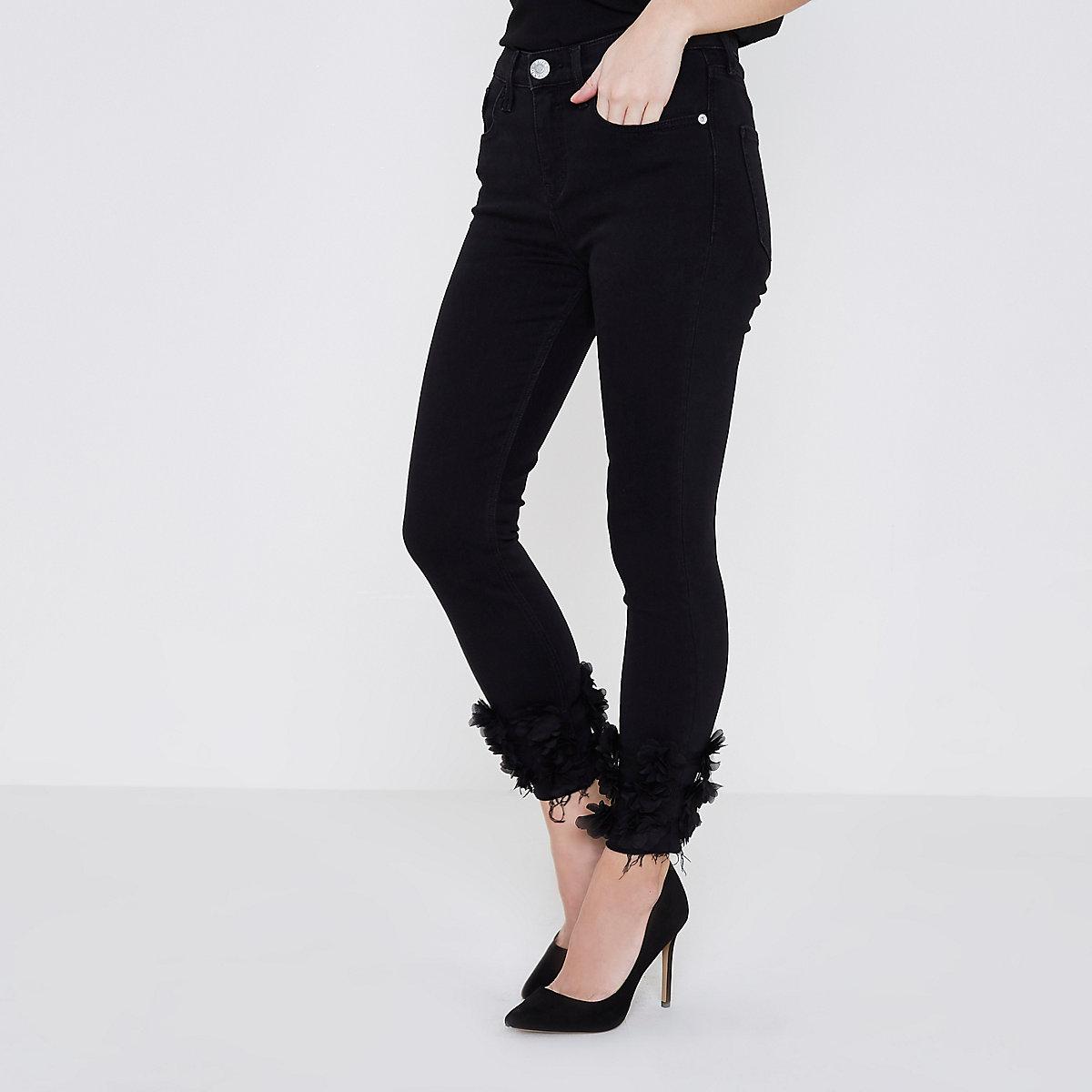 Petite black flower Amelie super skinny jeans