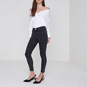 Petite – Amelie – Nietenverzierte, graue Superskinny Jeans