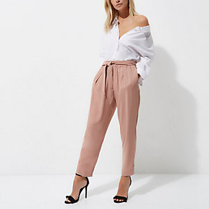 Petite pink tie waist tapered trousers
