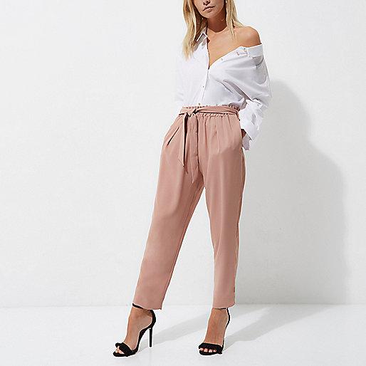 Petite pink tie waist tapered pants