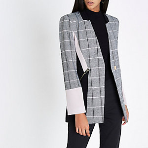 Black check color block blazer