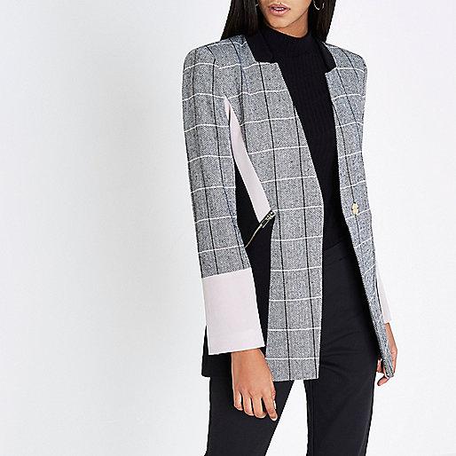 Black check color block blazer