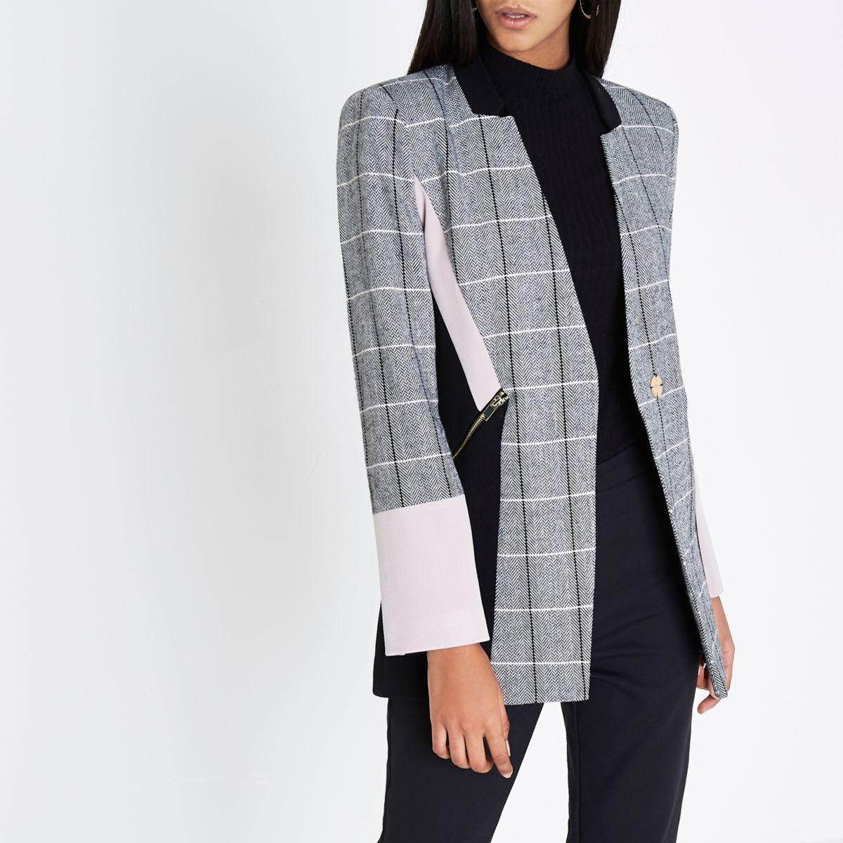 Black check colour block blazer