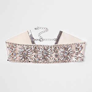 Light pink jewel embellished satin choker