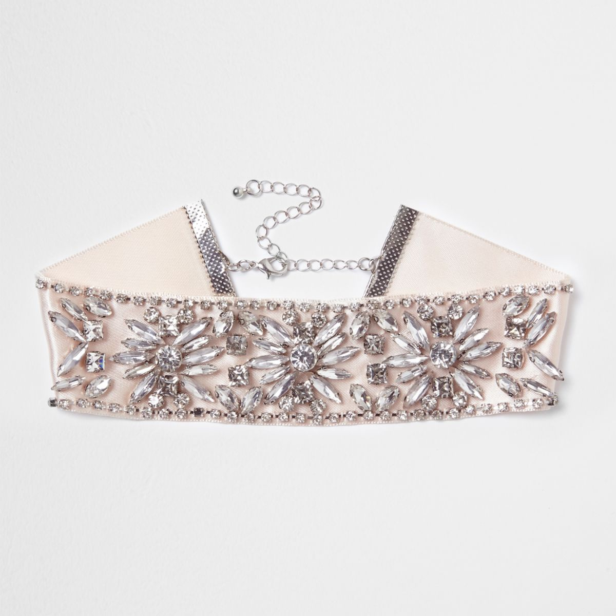 Light pink jewel embellished satin choker