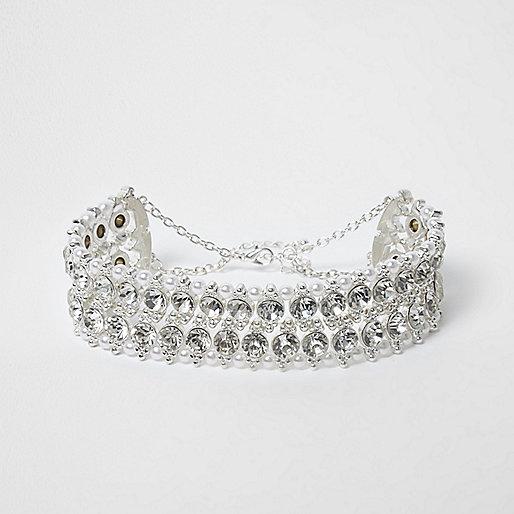 Silver tone jewel and faux pearl choker